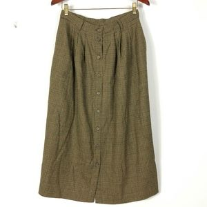 LL Bean Wool Midi Skirt 12P Tan Houndstooth